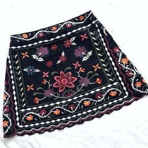 NWT Forever 21 Floral Embroidered Mini Skirt